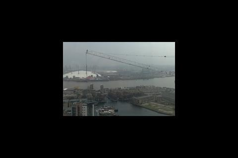 Worker on Dockland's crane